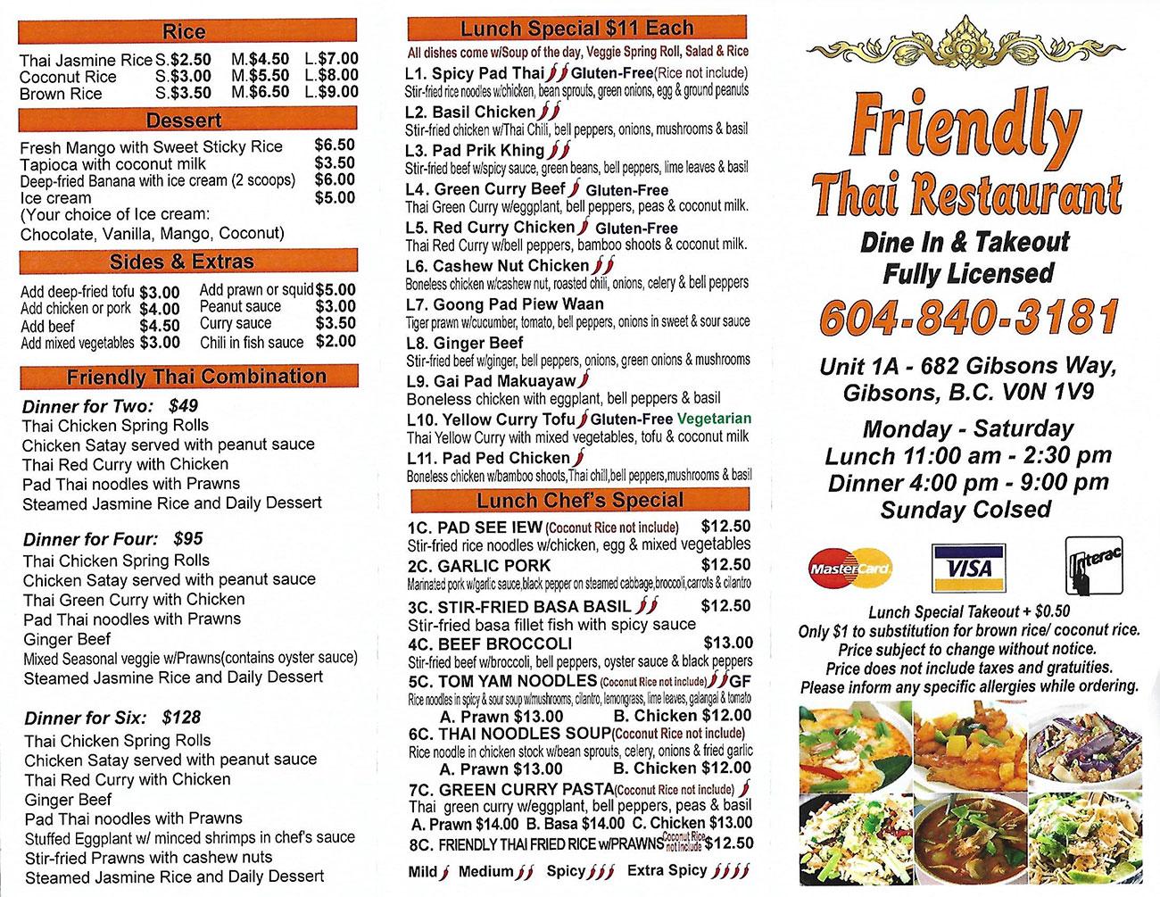 Take Out Menu | Friendly Thai Restaurant